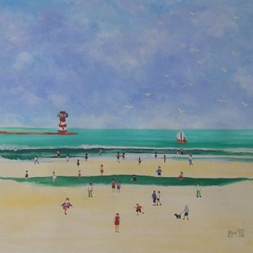 Judy Joel Original Gouache Painting Beach Scene With A Lighthouse